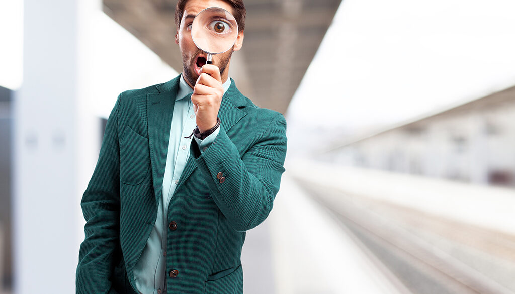 businessman looking for with magnifying glass